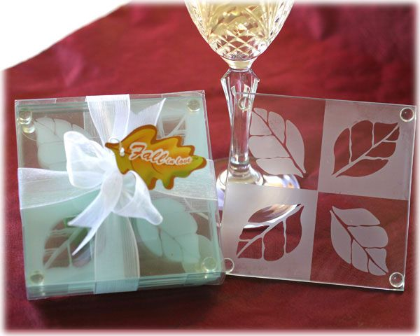 "Fall #Wedding Favors - ""Fall in Love"" Coaster Set: $3.05"