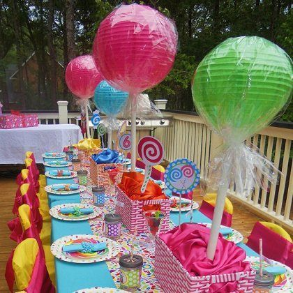 Paper lanterns on stick to look like lollipops! Awesomeness! # Could use at Christmas for a gingerbread party