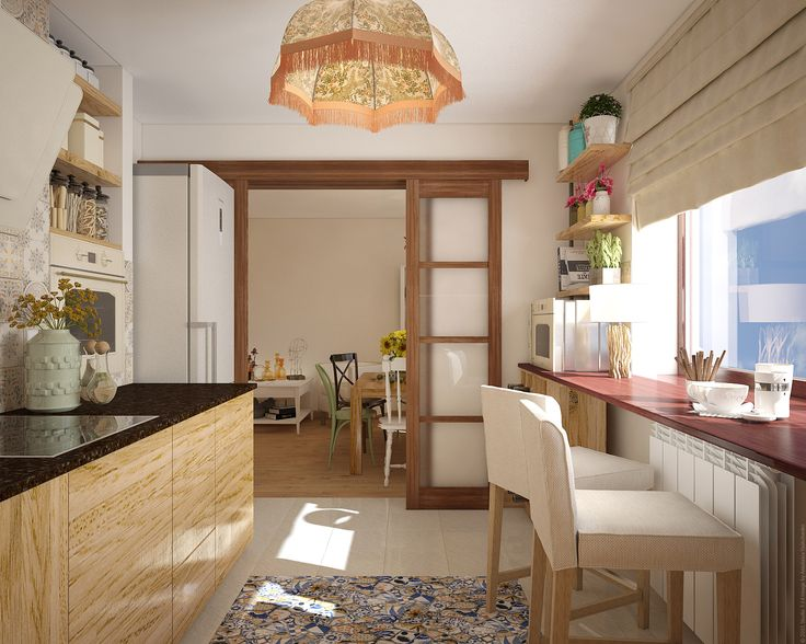 Вид на гостинную из кухни. Холодильник утопленный в нишу. Раздвижные двери.