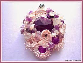 Purple soutache pendant Orchid