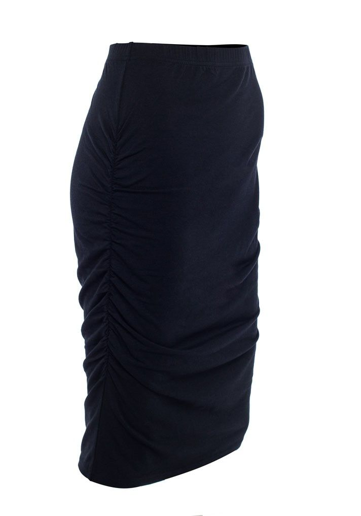 The SRC Essentials Tube Skirt is made from our signature super soft, bamboo rich jersey fabrication. The soft elastic waistband is designed to sit comfortably over or under a growing bump. The gathering at the side seams means the skirt can be worn comfortably while pregnant, and will accommodate an expanding tummy.