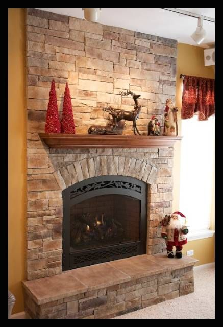 This faux or manufactured stone can dress up a brick fireplace that needs a refacing, and works well with a new wood mantel or TV with your new stone fireplace. Like this design? Visit us www.northstarstone.biz Design # code: Dry Stack Stone Fireplace 06