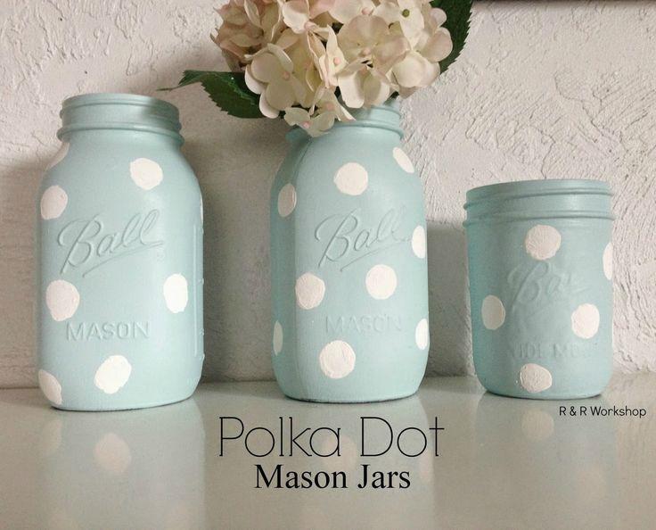 DIY Polka Dot Mason Jars   www.randrworkshop.com #masonjar #polkadots #diy