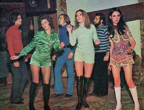1960s, fashion, mini skirts, party, retro, vintage, college students