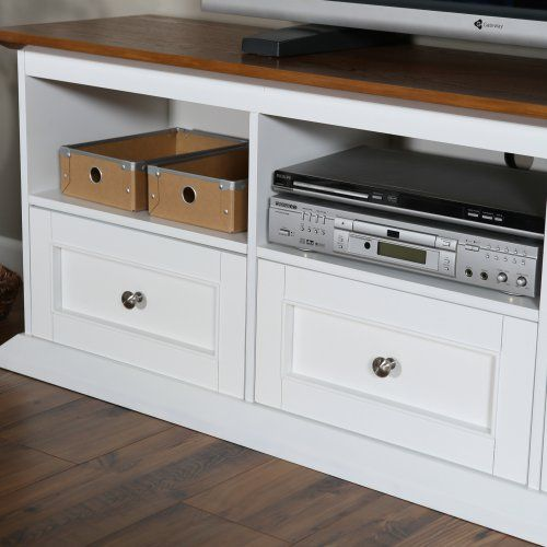 Belham Living Hampton TV Stand with Drawers - White/Oak - TV Stands at Hayneedle