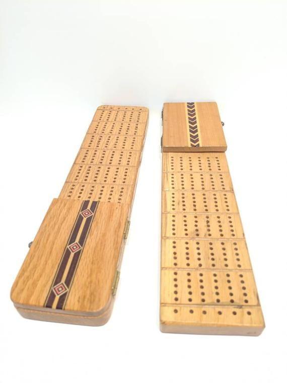 Wood Cribbage Board Retro Card Games Cribbage Board With Card Holder Aztec Cribbage Board Handmade Games Complete Cribbage Game Inlayed Wood Cribbage Board Retro Card Games