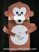 Make this paper bag puppet monkey.