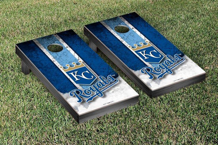 Kansas City Royals MLB Cornhole Boards Vintage Version #cornhole #victorytailgate