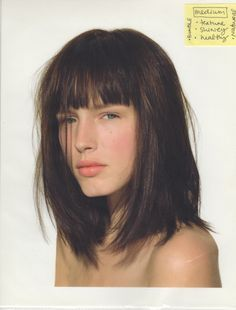 Long Bob with Bangs and Medium Brown Warm Hair Color. #longbob #haircolor #brunette eSalon.com