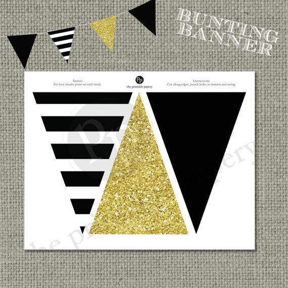 Printable Bunting Banner | Black & Gold Glitter Decor | Instant Download | DIY | No. BAN-121