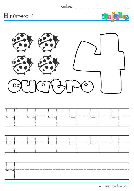 Ficha para aprender el número 4. La ficha se compone de unos dibujos de colorear, el número, y unas líneas para aprender a escribir el número cuatro. Fichas
