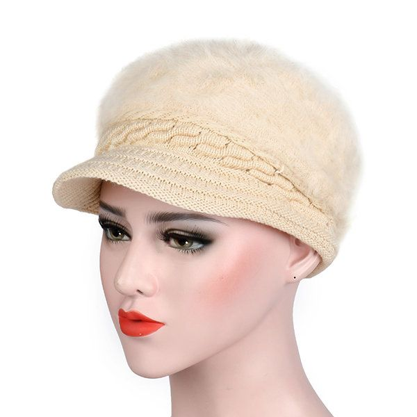 Womens Knitted Woolen Stripe Beret Cap Elegant Ladies Hats Fashionable Comfortable Caps