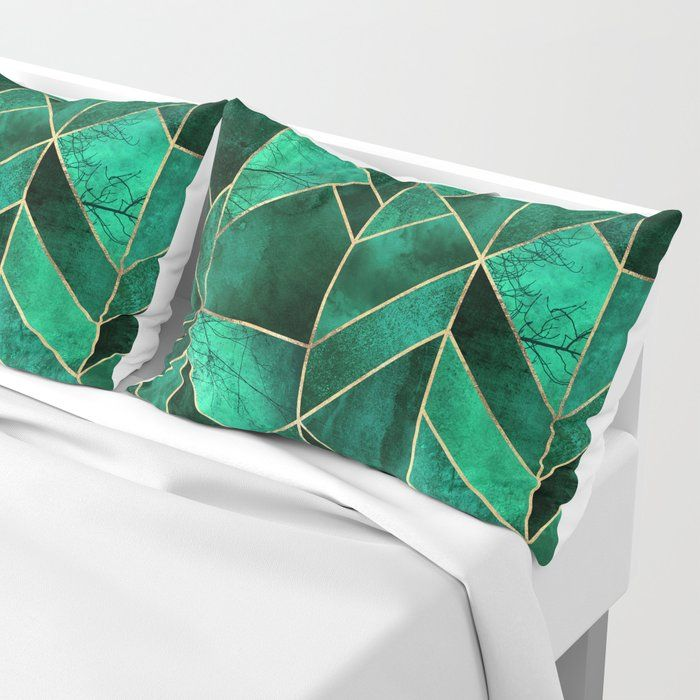 Abstract Nature Emerald Green King Size Pillow Sham By Elisabeth Fredriksson Standard Set Of 2 In 2020 Green Pillow Covers Green Pillows King Size Pillow Shams