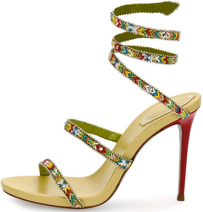 Rene Caovilla Beaded Snake 105mm Sandals
