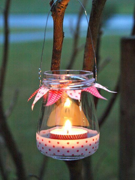 Windlicht aus altem Marmeladen Glas: Mit Masking T…