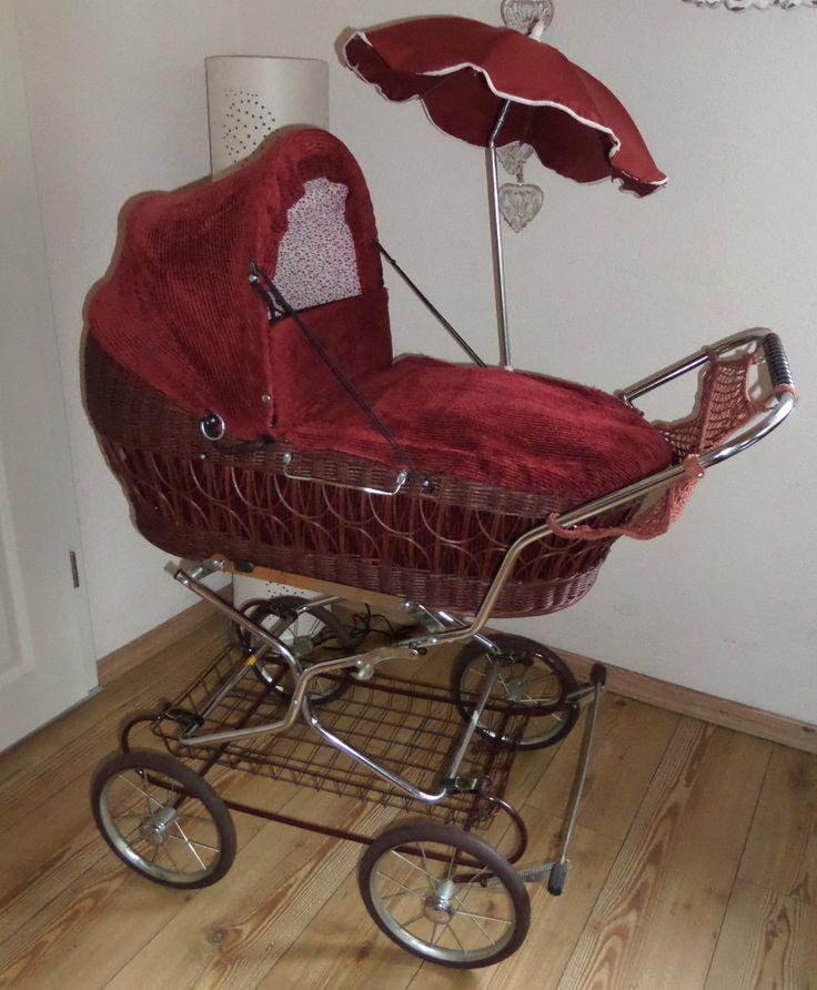 Nostalgie Kinderwagen Korbkinderwagen 80er Vintage pram Retro Kord weinrot Wiege in Baby, Kinderwagen & Zubehör, Kinderwagen | eBay