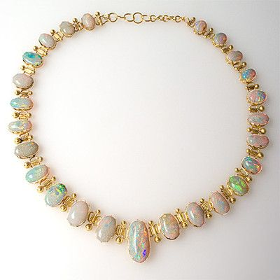 1920's Antique Crystal Opal Necklace Solid 18K Yellow Gold Fine Estate Jewelry   eBay