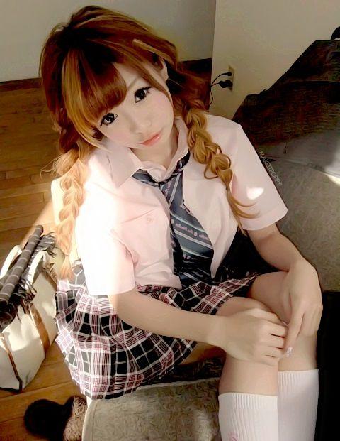 School Girl School Uniform Plaid Skirt Tie