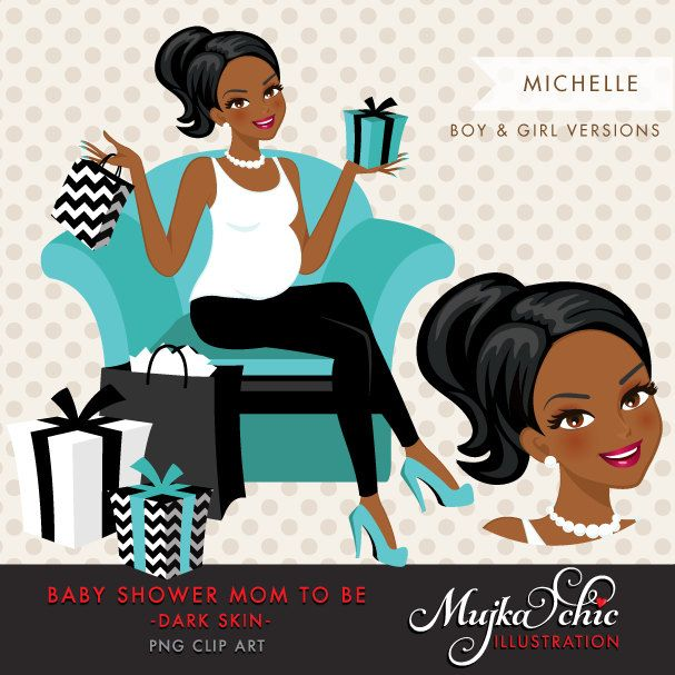 African Amerikan Dark Skin Pregnant Woman Character Design with gift box Clipart. Baby Shower Party Invitation Character. Teal, Pink, Black. by MUJKA on Etsy