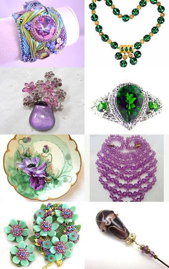 Stunning Colors of Green and Purple from #Vintage Vogue #jewelry