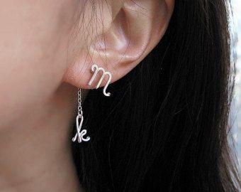 Anfängliche Ohrringe - Ohr Jacke Sterling Silber personalisiert Kursive Buchstaben, Missverhältnis nickelfrei Bolzen, moderne minimal Schmuck, kurze