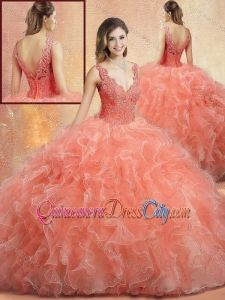 Pretty V Neck High Fashion Gowns with Ruffles and Appliques