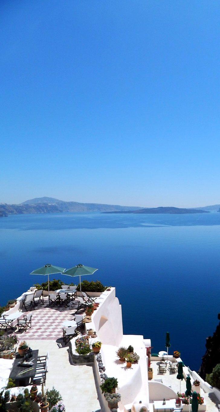 Terrace view in Oia, Santorini- LadyLuxuryDesigns