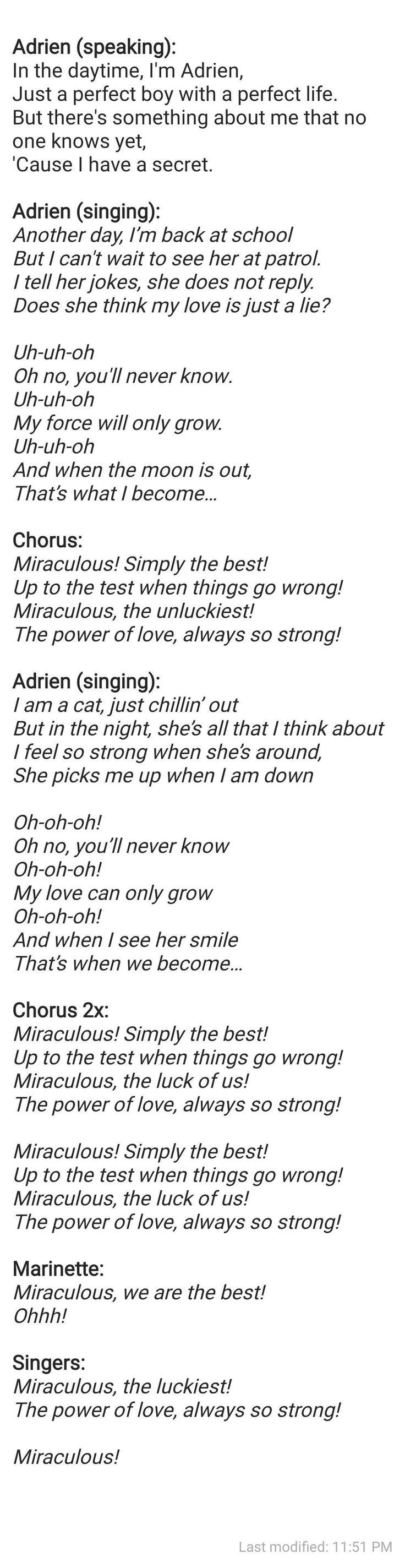 Adriens Song (Part two of 2) Miraculous Ladybug  It's Ladybug>It's Cat Noir