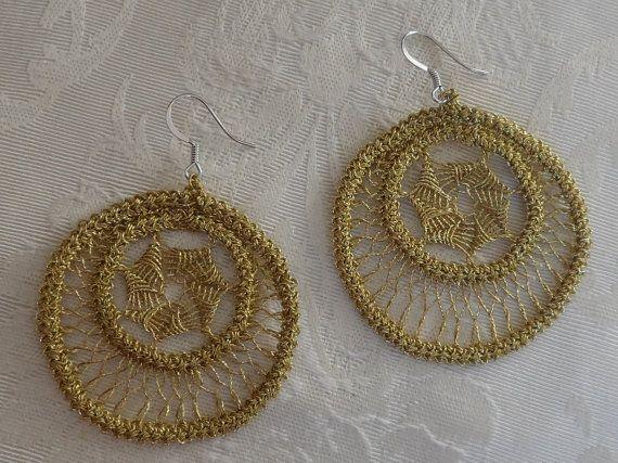 Romanian Point Lace Golden Earrings 201MG by ElenasRomanianLace