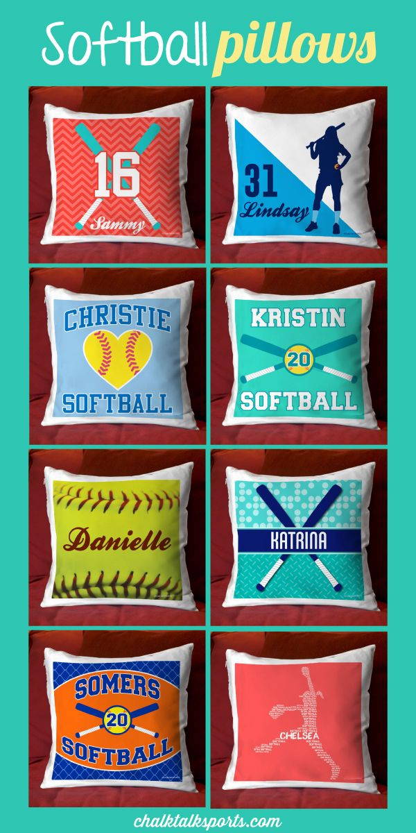 Add some softball spirit to any room with our decorative softball pillows!  Most of our pillows can be personalized with player name, player number, or team name.  Choose from a wide variety of colors and designs.  These pillows would make a very special gift for any softball girl to show her love for the game!  Only from ChalkTalkSPORTS.com!