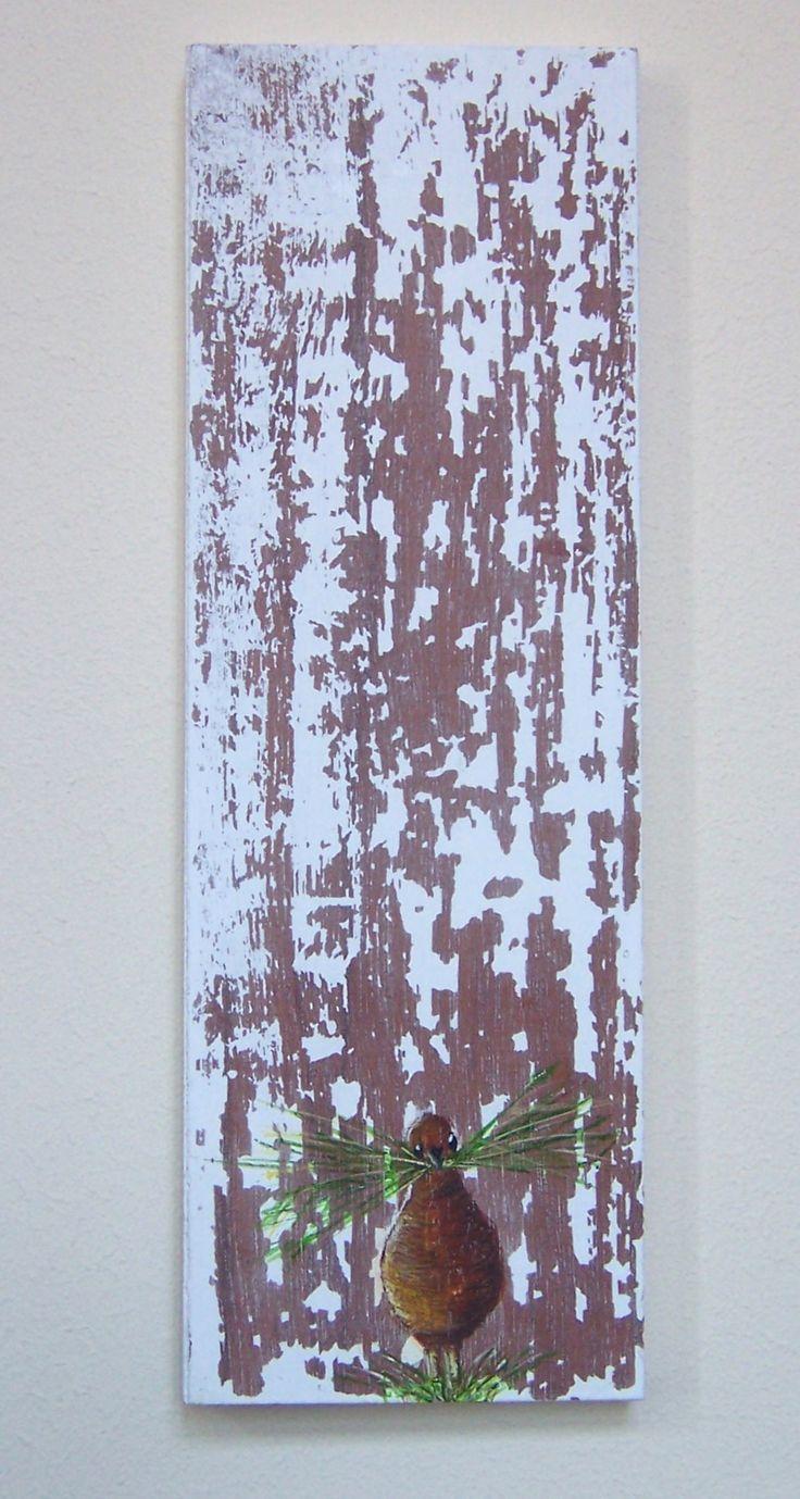 lente (1) Linoleum-afdruk en verf op hout