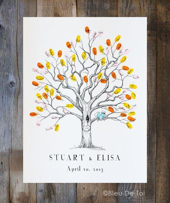 Fingerabdruck-Baum Hochzeit Gäste Buch Alternative von bleudetoi