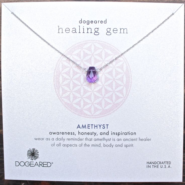 dogeared healing gem amethyst necklace, sterling silver