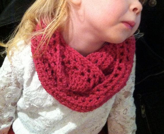 Toddler INFINITY scarf for Girl handmade crochet by Sophiezhappy, $20.00