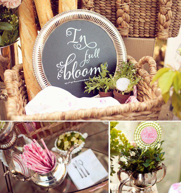 "french garden baby shower ""in full bloom"" theme"