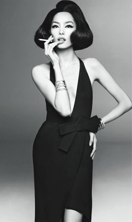 Fei Fei Sun for Vogue Italia by Steven Meisel. Black and white gorgeousness.