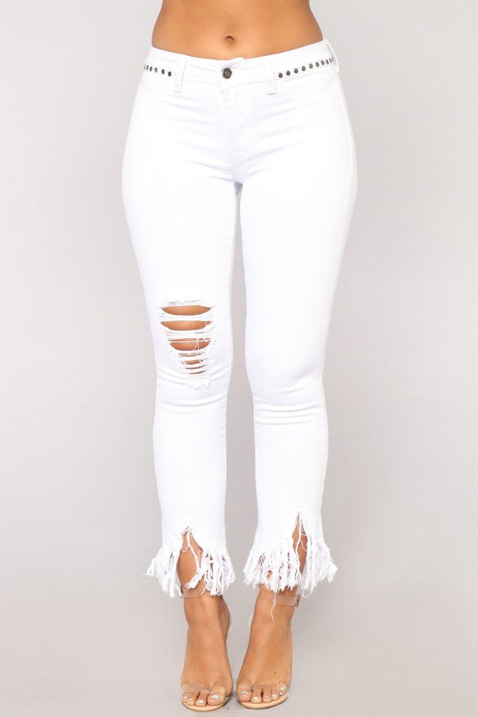 Grover Studded Ii High Rise Jeans White Fashion Pinterest