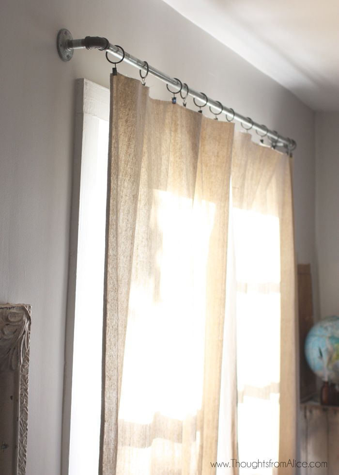 5 minute no sew drop cloth curtains pinterest drop cloth curtains industrial and curtain rods. Black Bedroom Furniture Sets. Home Design Ideas