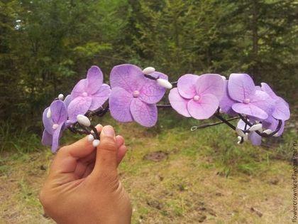 """Купить Ободок из гортензии """"Лесное очарование"""" - сиреневый, ободок с цветами, гардения, для невесты, для фотосессии, весна"""