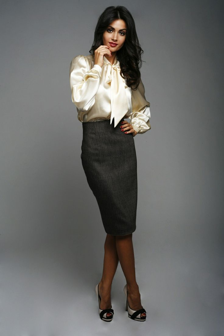 charcoal pencil skirt ivory satin blouse sheer black