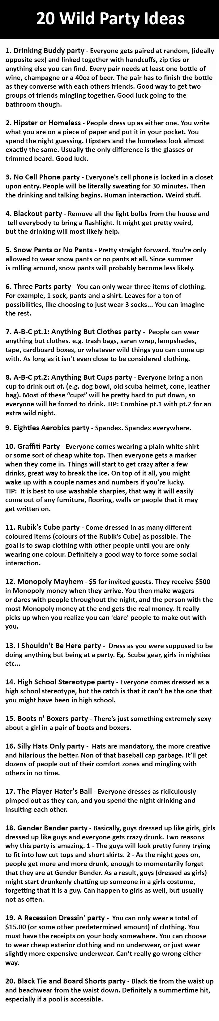 20 Wild Party Ideas, but pinning because some of these would make good programs (minus the alcohol.)