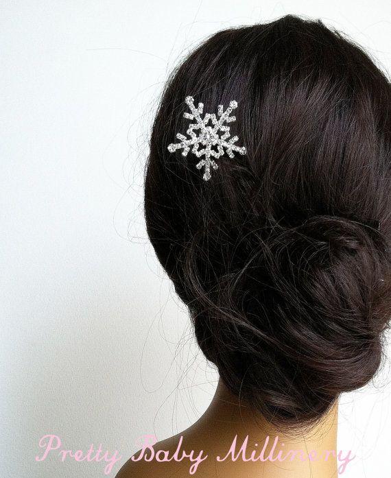 Weihnachten Haarschmuck, Schneeflocke Haarschmuck, Winter Hochzeit, Winter, Schneeflocke Haarspange Strass Brautjungfer Geschenk   – fashion