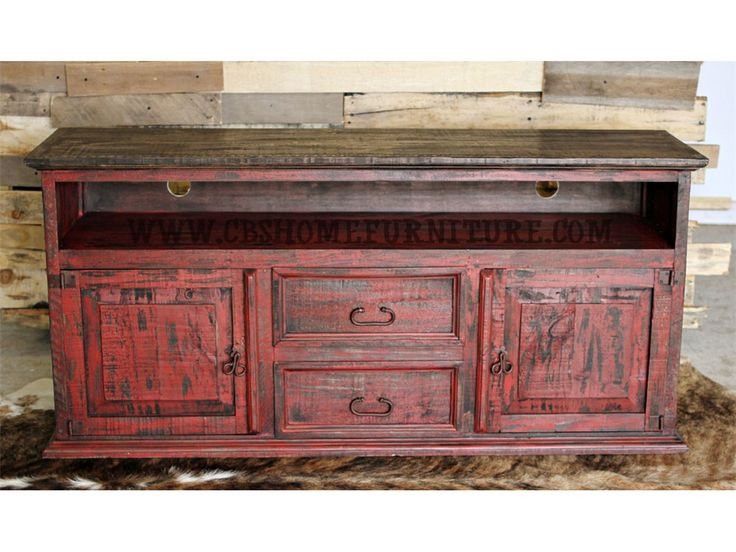 Million Dollar Rustic Bedroom Red Distressed TV Stand $449 09 76   CBS  Furniture