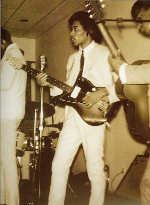 Jimi Hendrix with The Isley Brothers. Wow Hendrix playing a Jazzmaster!