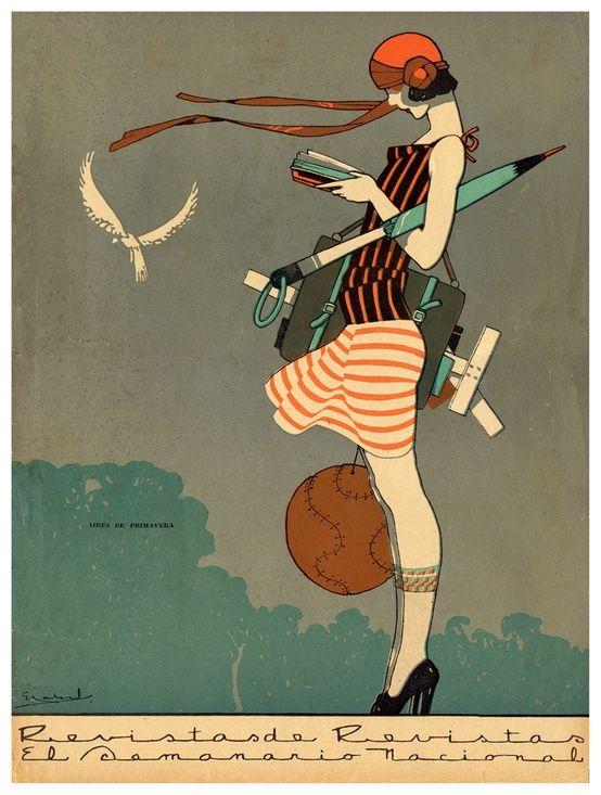 Really Cute Art Deco Artwork Print Of A Female Architect Or Interior Designer