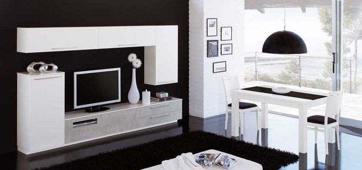 Cupboard Wall Pic with white color and tv for living room