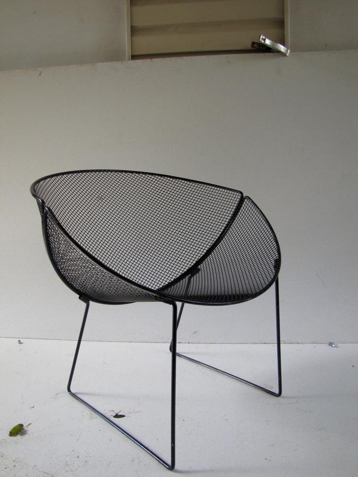 Pair Of Vintage Wire Mesh Patio Chair Orange Slice Russell