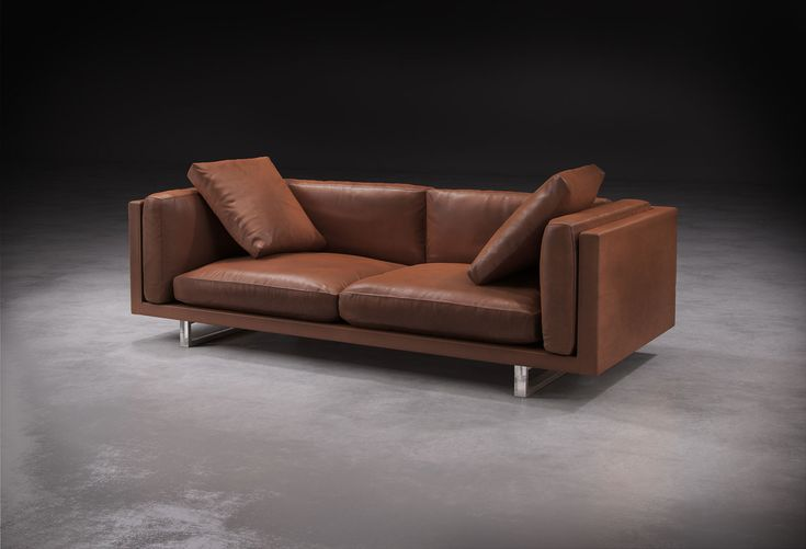 Modloft Fulton Three Seater Sofa. The elegant and well-proportioned Fulton 2- and 3-seater sofas combine luxury and comfort uncommon in contemporary seating. Fulton is built with kiln-dried solid wood frame, polished steel sled legs, and hand-tailored top grain natural leather.