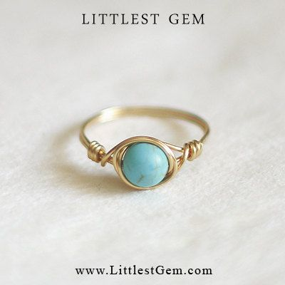 Turquoise ring  unique ring  bohemian jewelry  wire door littlestGEM