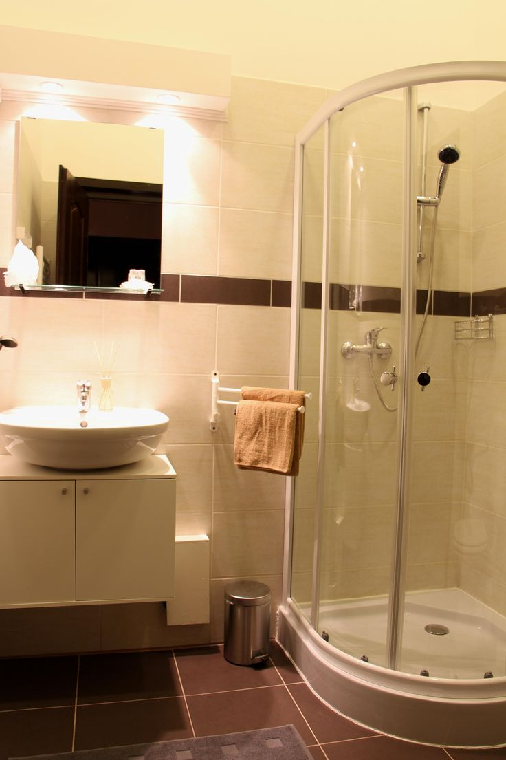 Deluxe Bathroom - beige/dark brown tiles, shower cabin